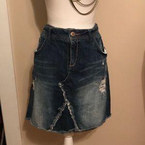 Lane Bryant distressed denim skirt